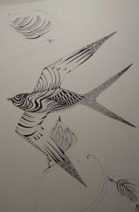 Vogel poster in zwart en wit