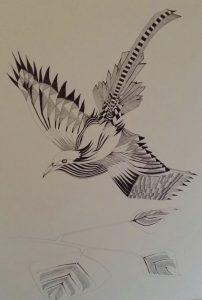 vogel in zwart en wit